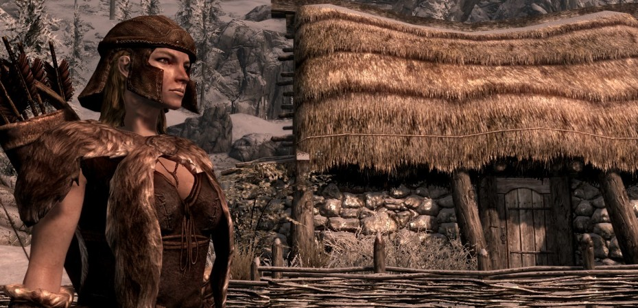 Leona poses in front of a farm outside of Windhelm