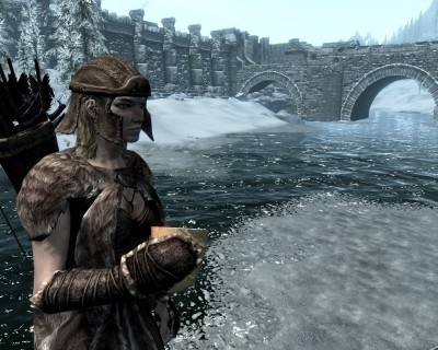 Archer, Leona in front of Windhelm's Bridge
