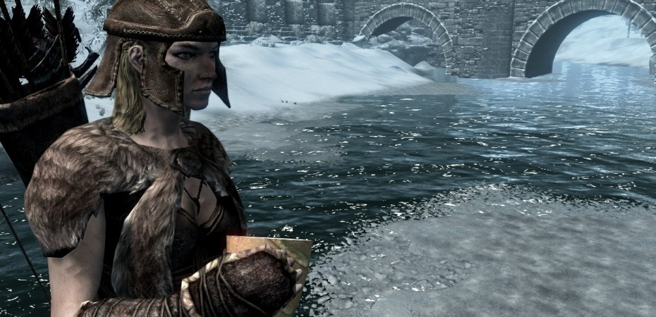 Archer, Leona in front of Windhelm's Bridge