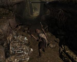 Leona swings a pickaxe in Dawnstar's quicksilver mine