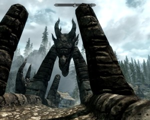 Ancient bridge in Skyrim with a dragon's head that you must walk beneath.