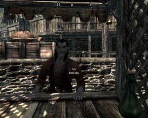 Dark elf, Brand-Shei tending his stall.
