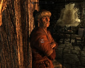 Elgim in his apothecary shop canal-side in Riften.
