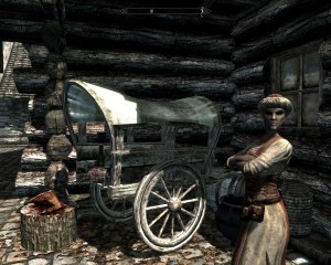Marise the dark elf, next to her wagon of meats