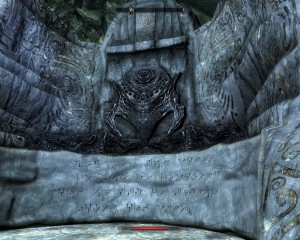 Unrelenting force (Fus) word wall in Bleak Falls Barrow.