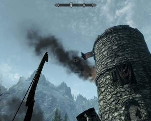 A dragon flies into attack the western watchtower, which is smoking from previous attacks.