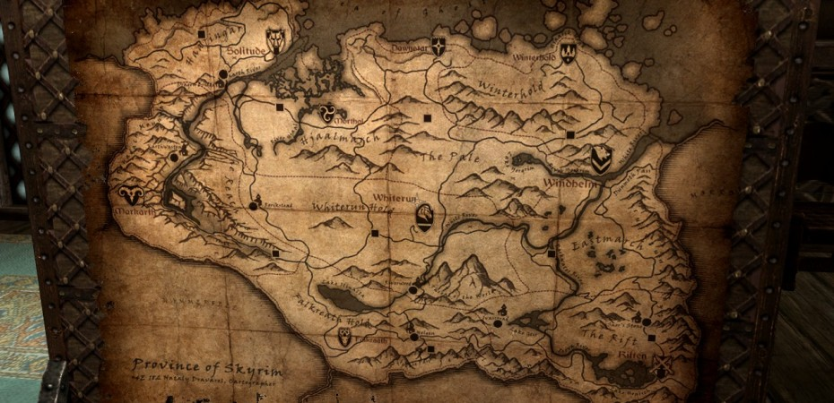 Map of Skyrim from the Jarl of Whiterun's Castle.