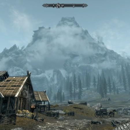Mountain overlooking Whiterun's Stables