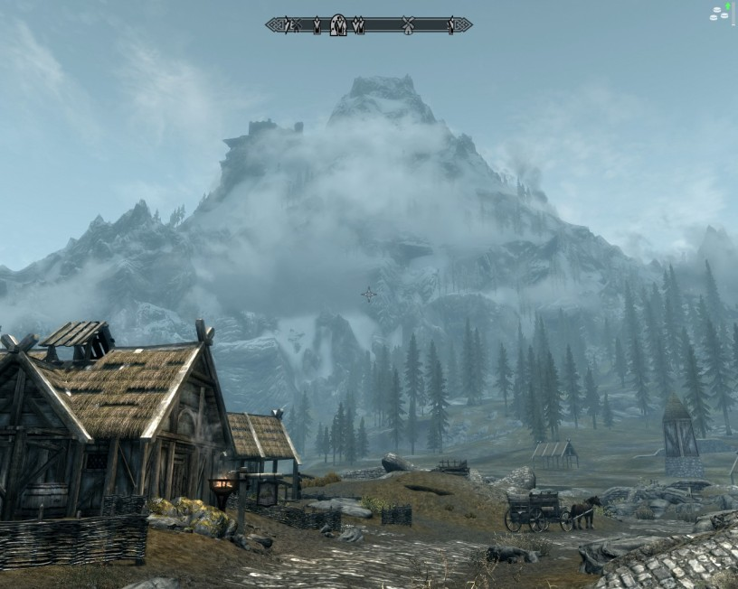 Mountain overlooking Whiterun's Stables