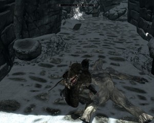 Leona crouches near a downed frost troll in Labyrinth.