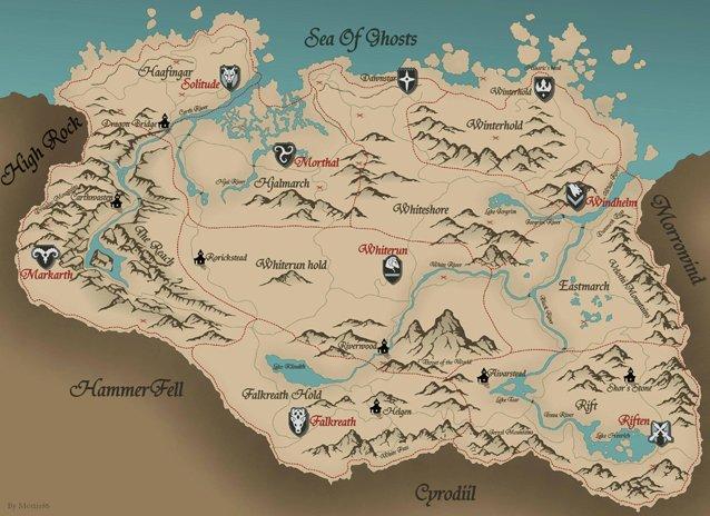 Map of Skyrim from Gameranx