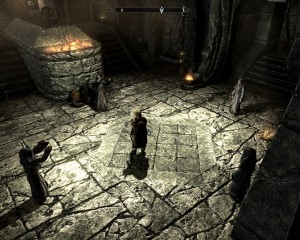 Leona stands in the center of four Greybeards, arms outstretched in the ceremony of acknowledging a dragonborn.