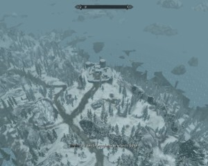 Meridia floats Leona above Skyrim. This is a view of a nearby fort.