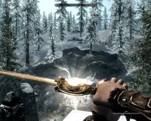Leona blocks with Dawnbreaker a sword whose pommel glows with light.