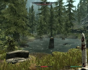 Looking back at a small pond. The enemies are just red dots on the map.