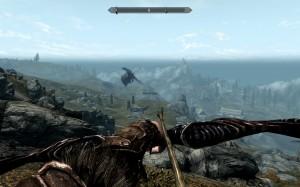 Alduin the black dragon hovers above the dragon burial near Rorikstead.