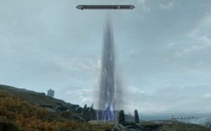 Tower of purple and blue light over the dragon burial mound, raising towards the sky.