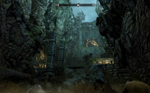 The entrance to Sky Haven Temple, ruins surrounded in rock, but open to the sky.