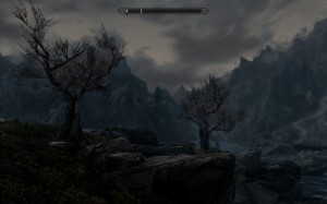Purple mountains magesty as the sun rises over the mts. of skyrim.
