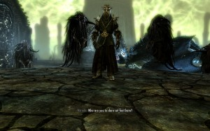 Miraak asked who dares disturb him flanked by creatures of nightmare.