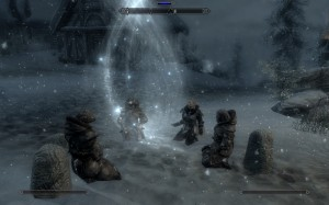 Frea and her father protect the village of Skaal from Miraak with magic.
