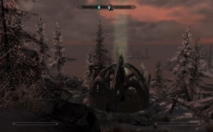 The Wind Stone of the Skaal is almost completely encased by Miraak.