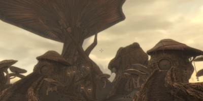"""Neloth's dwelling consists of three mushroom """"homes"""" that are as tall as mountains."""