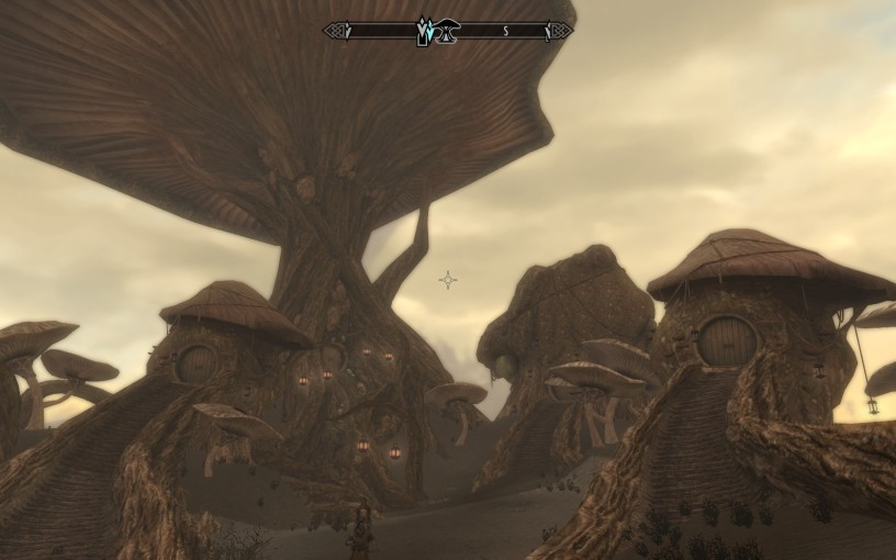 "Neloth's dwelling consists of three mushroom ""homes"" that are as tall as mountains."