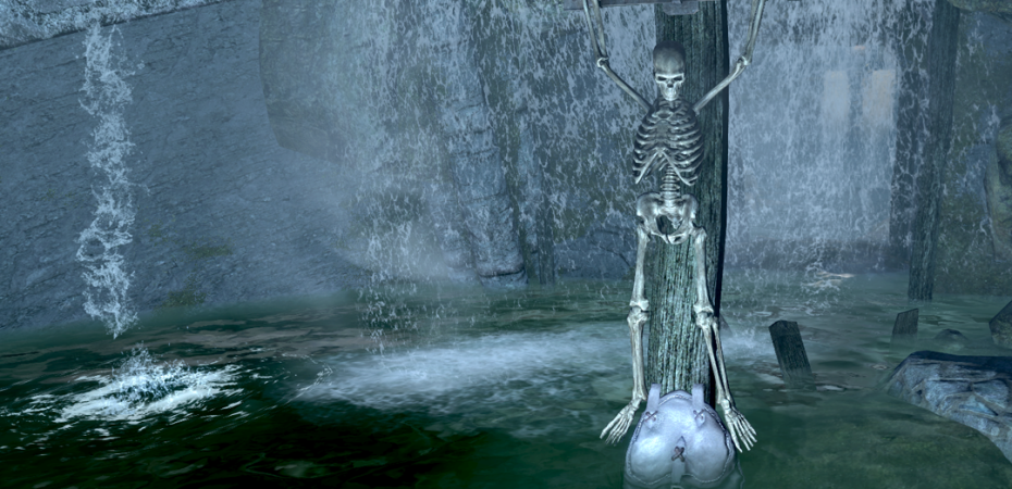 Skeleton in front of Ilinalta's Deep.