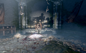 Malyn's skeleton reins over an empty blood-filled room.