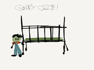 """""""Child's"""" drawing of himself next to a crib."""
