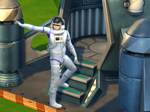 Ashley stands on the steps to his spaceship look back a the world.