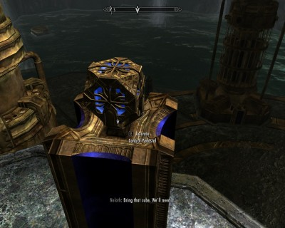 Cube emits a blue light as it powers the dwemer pumps.