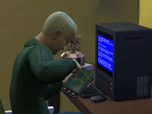 Ashley sits down to repair Robin's old computer.