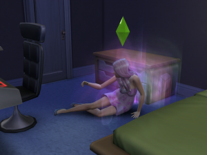 Pat lies quietly on the ground as her spirit escapes.