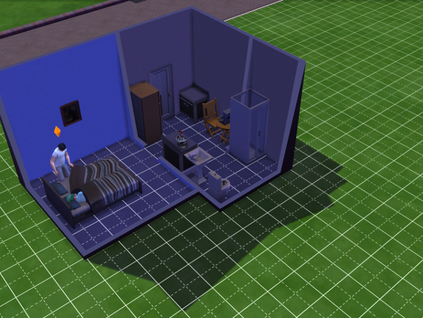 The interior of my house, a bedrrom, kitchen (with a counter and a fridge) and the computer, and a full bathroom. Luxury!