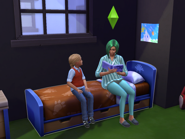 Charlotte and Lemongrass sit on her bed reading a book together. Sadly the ground is grass since we're outside.
