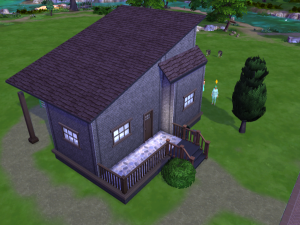 Single story house with a slanted room and a small front porch. Plus a tree and a bush! Now that's fancy.