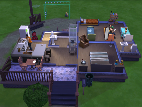 The interior of my house, Mitchell cooks dinner while Conan sits on the porch outside doing his homework. The other boys are in the back room with Lemongrass reading and Charlotte's out on the monkey bars.