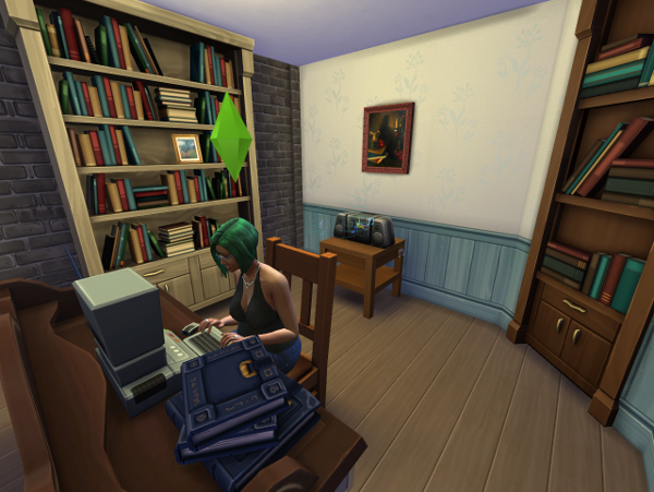 Lemongrass sits at a PROPER desk with bookcases, books and other writer-y stuff.