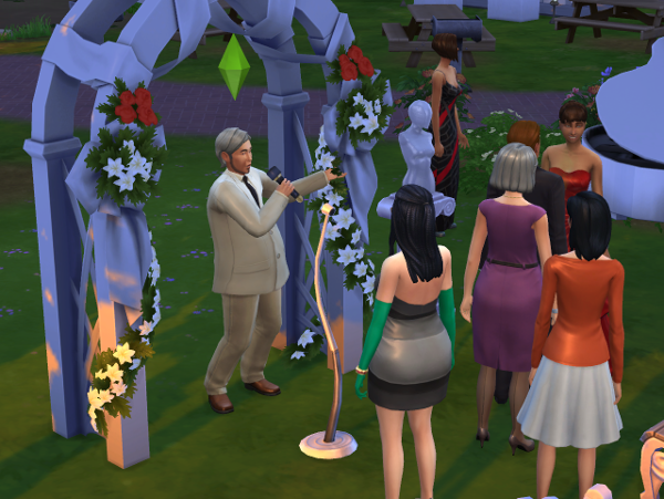 Mitchell tells jokes in front of a crowd of wedding goers.