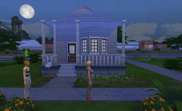 Charlotte and Abel stand in front of their house, the moon behind them.