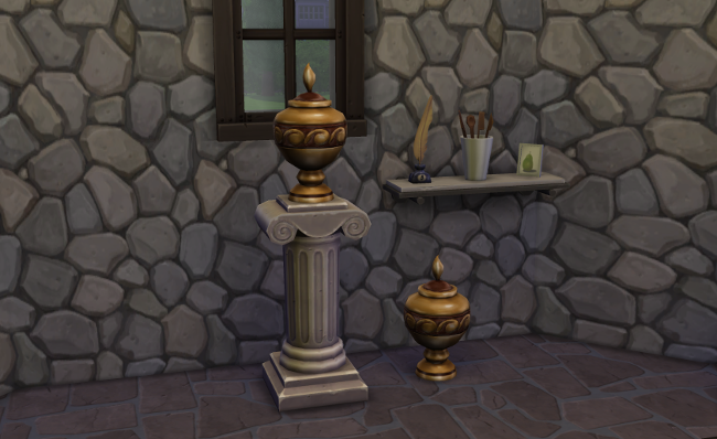 Two urns in a stone room with a quill pen and cup of cooking utensils as mementos.