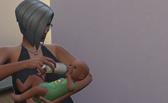 Lemongrass feeds her grandchild.