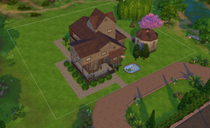 Top down view of a large two and three story house, now with wrap-around front porch, landscaping, and a detached mausoleum.