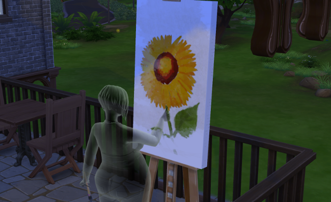 "Lemongrass as a ""fine"" ghost painting a sunflower."