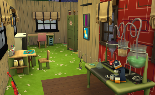 Wide hallways with kids play things, green grass carpet and wooden paneling.