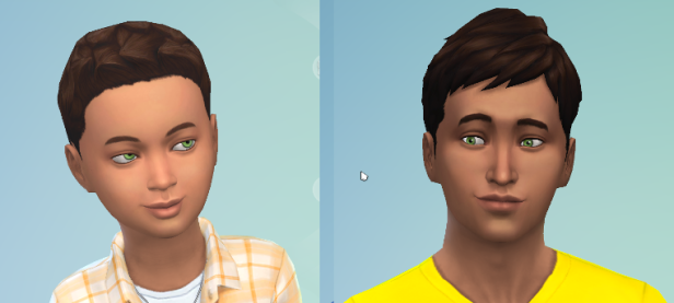 CAS portraits of child and teenager Reef. Same dark hair as Carol, same bright green eyes.