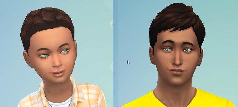 CAS portraits of child and teenager Reef. Same dark hair as Carol, same bright green eyes.