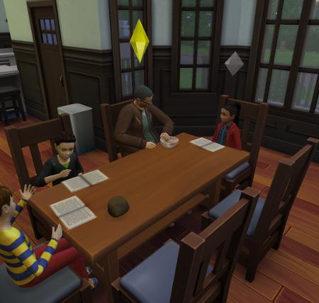 Bourne, Xander, and Carman do their homework while Cason helps.
